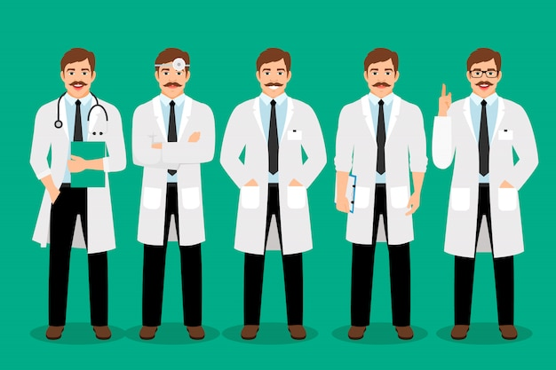 Stehender männlicher doktor wirft vektorillustration auf. gesundheitspflegemann-praktikerporträt im weißen mantel