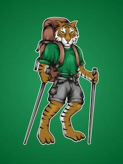 Stehender tiger-wanderer