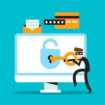 Stehlen sie datenkonzept mit charakter-hacking