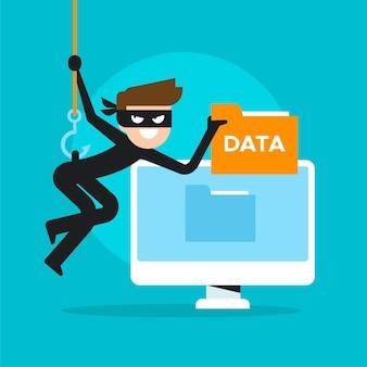 Stehlen sie datenkonzept mit cyberdieb