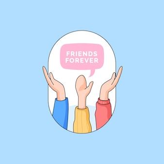 Steigen sie handgruppe der besten freunde für immer illustration für glückliches freundschaftstagkarikatur-gekritzeldesign auf