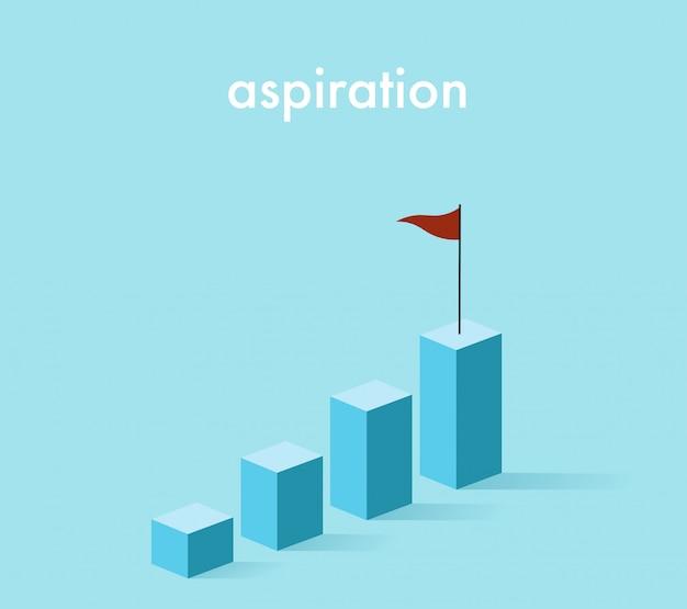 Steigendes diagramm des wachstums 3d im hellblauen ton mit der roten fahne