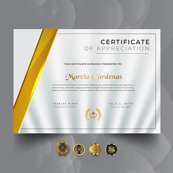 Steigendes gelbes modernes zertifikatschablonendesign