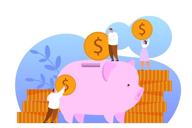 Steigern sie den umsatz mit dem web-banner-konzept. idee des kapitalwachstums und der finanzierung von investitionen, geld in sparschwein stecken. geschäftsgewinn. illustration