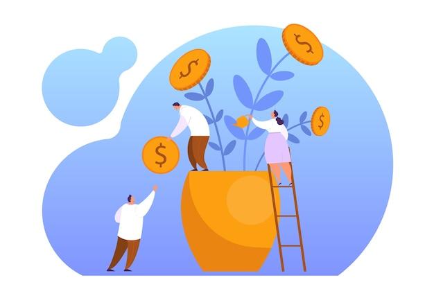 Steigern sie den umsatz mit dem web-banner-konzept. idee des kapitalwachstums und der finanzierung von investitionen. geschäftsgewinn. die leute bauen geldpflanzen an. illustration