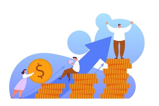 Steigern sie den umsatz mit dem web-banner-konzept. idee des kapitalwachstums und der finanzierung von investitionen. geschäftsgewinn. illustration