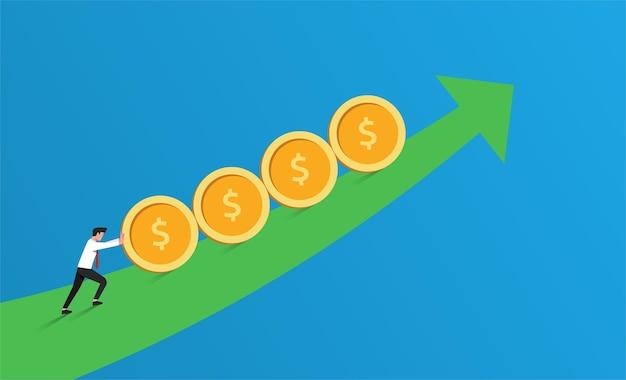 Steigerung des gewinns oder des verkaufsgeschäftskonzepts. geschäftsmann, der münzen über die pfeilliniensymbolillustration rollt