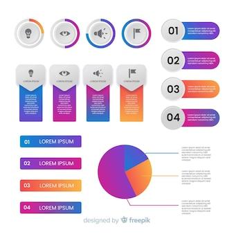 Steigung infographik elemente gesetzt