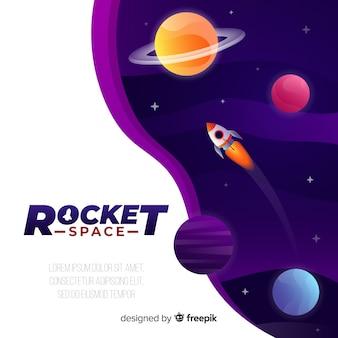 Steigungsgalaxiehintergrund mit einer rakete