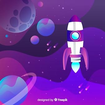 Steigungsraumhintergrund mit rakete