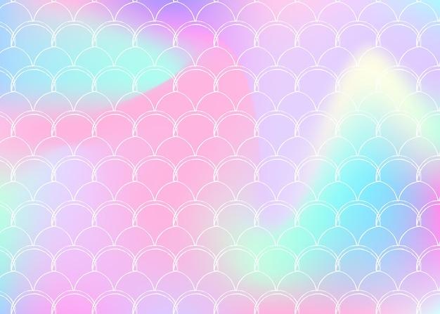Steigungsskalenhintergrund mit holographischer meerjungfrau. helle farbübergänge