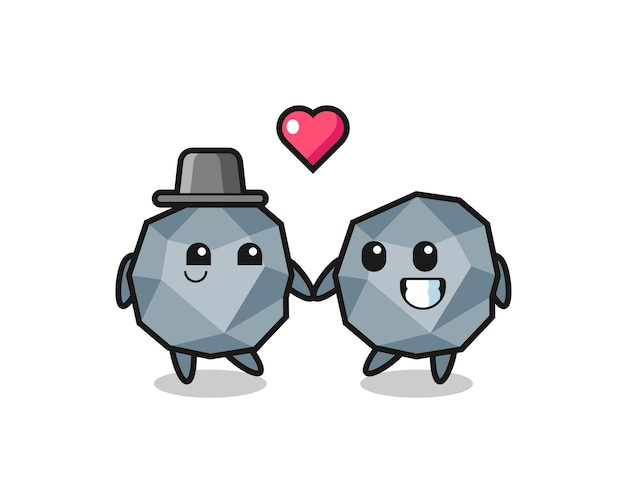 Stein-cartoon-charakterpaar mit verliebtheitsgeste, süßem stildesign für t-shirt, aufkleber, logo-element
