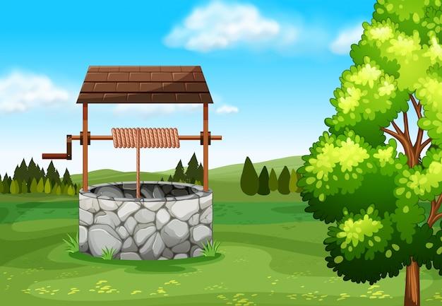 Stein wird auf dem feld illustration