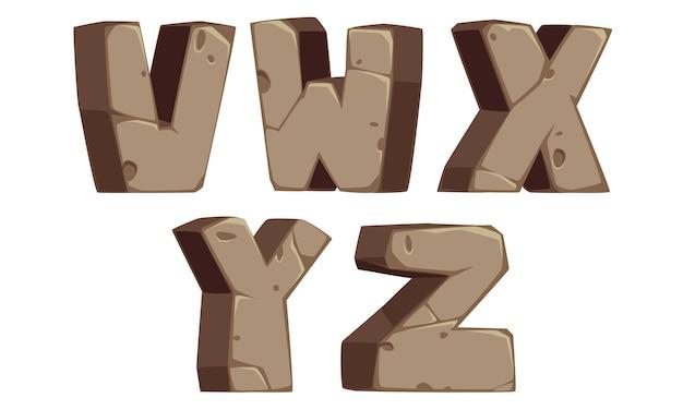 Steinalphabete v, w, x, y, z