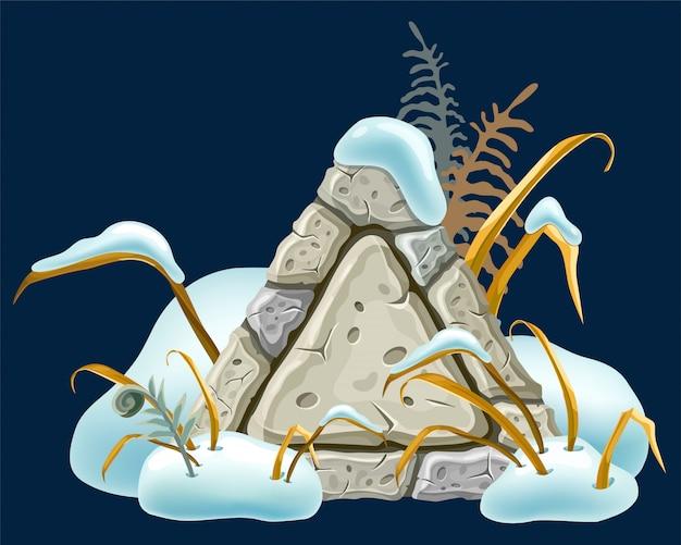 Steinbrettdekoration schneeverwehungen.