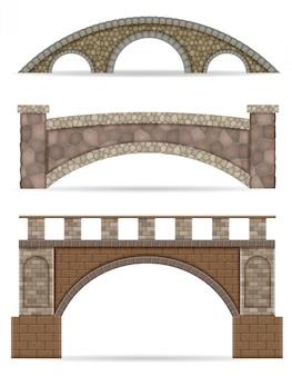 Steinbrücke lager vektor-illustration