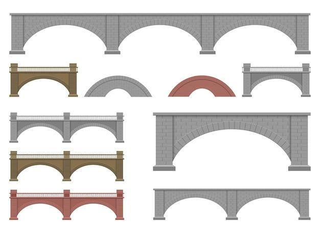 Steinbrücke lokalisiert auf weißem hintergrund
