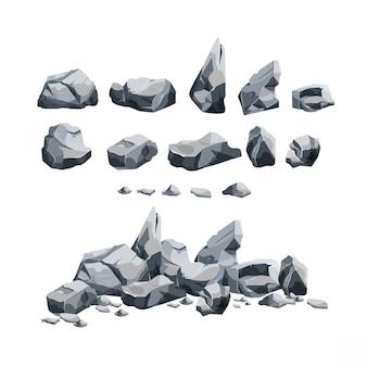 Steine im cartoon-stil festgelegt