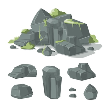 Steine und felsenkarikatur-naturflussstein mit gras und moos für spielschnittstellendesign. vektorabbildung