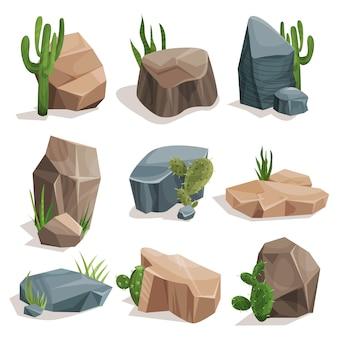 Steine und naturfelsen mit grünem gras und kaktus gesetzt, landschaftsgestaltungselemente illustrationen