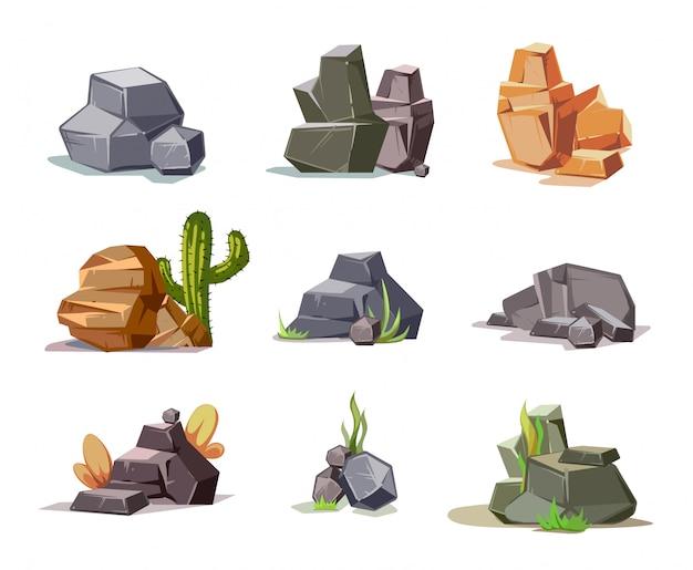 Steine und naturfelsen stellten mit grünem gras der karikatur ein