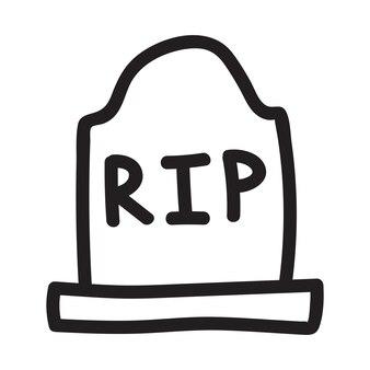 Steingrab, grabstein rip mit einem linearen vektorsymbol für halloween im doodle-skizzen-stil
