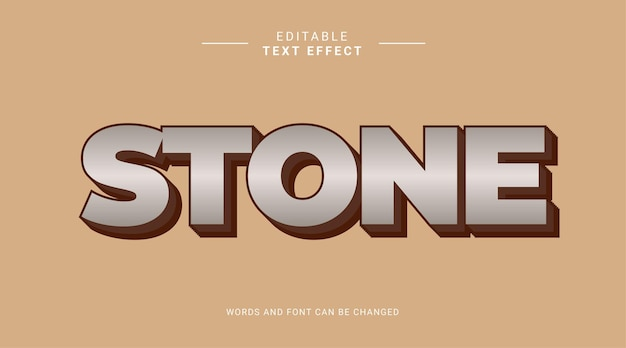Steingraue 3d bearbeitbare texteffektvorlage