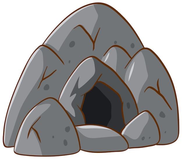 Steinhöhle auf weißem hintergrund