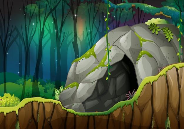 Steinhöhle im dunklen wald