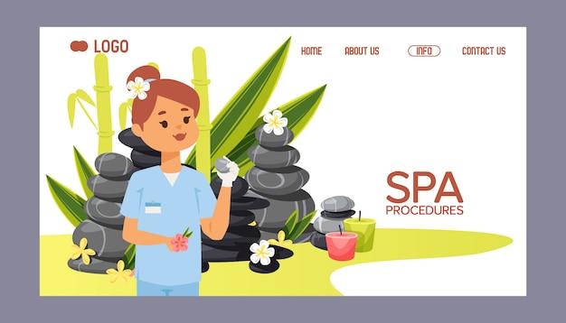 Steinige therapie des badekurortstein-webseiten-zens für schönheitsgesundheits- und -entspannungsillustration
