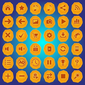 Steinknopf und symbol setzen farbe gelb für spiele.