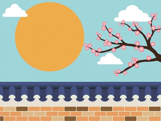 Steinmauerzaun mit kirschblüte-baum auf hintergrund