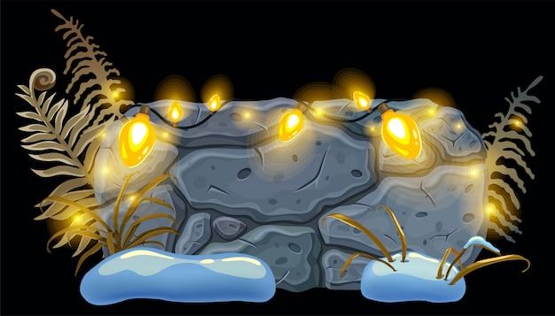 Steinplatte dekoration urlaub glühbirnen.