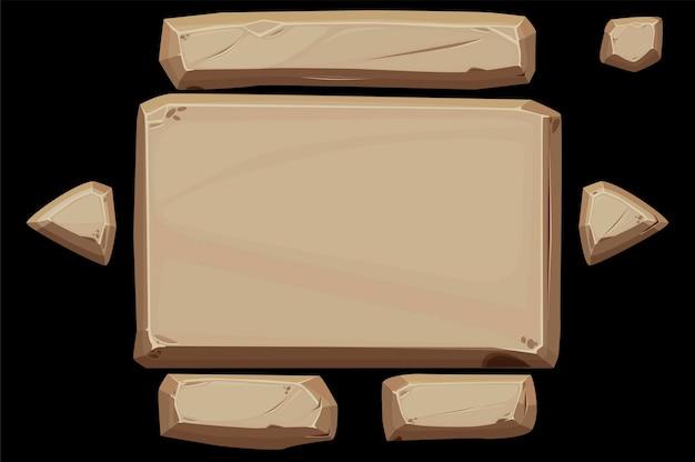 Steinplattenbanner mit schaltflächen für die benutzeroberfläche.