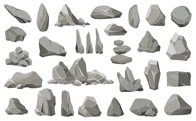 Steinsteine und trümmer des berges. kies, grauer stein, natürliche mauersteine. sammlung von steinen verschiedener formen.