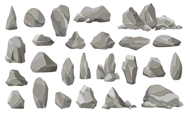 Steinsteine und trümmer des berges. kies, grauer stein. sammlung von steinen verschiedener formen.