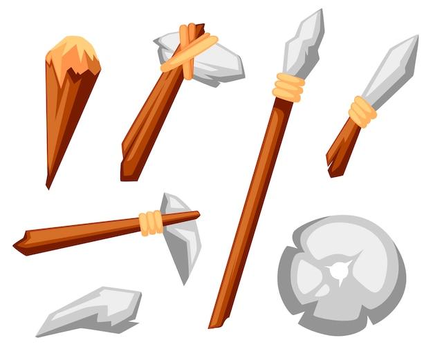 Steinwerkzeug gesetzt. steinzeit primitive arbeitsgeräte axt, hammer, keule, speer und messer. steinrad. stilillustration auf weißem hintergrund