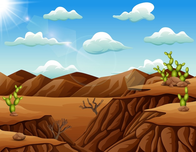 Steinwüstenlandschaft mit kaktus