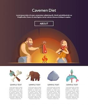 Steinzeit-familie. vektorkarikatur-höhlenbewohner-schablonenillustration