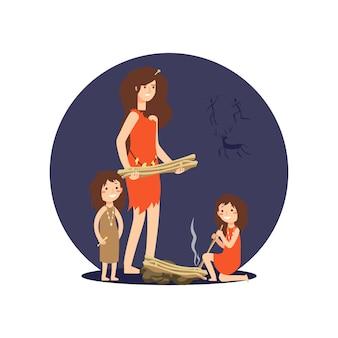 Steinzeitfrau und -mädchen erhalten feuer