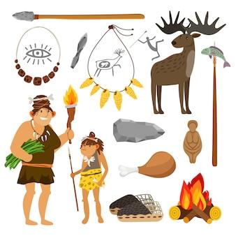 Steinzeitmenschen und werkzeuge