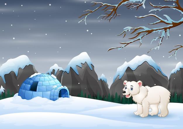Stelle einen eisbären und ein iglu in einer winterlandschaft in szene