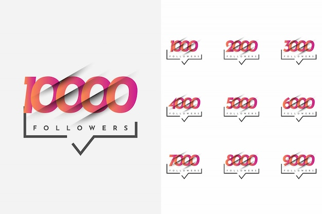 Stellen sie 1000 bis 10000 follower template design ein