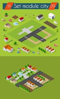 Stellen sie 3d ein. isometrische ansicht von gebäuden und wohngebieten