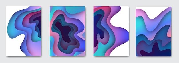 Stellen sie 3d-papierkunstillustration ein. helle bunte halbtonverläufe. design-layout für banner-präsentationen, flyer, poster und einladungen.