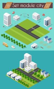 Stellen sie 3d stadtbildstadtstraßenkreuzung der autobahnstraße ein. isometrische ansicht von wolkenkratzer-bürogebäuden und wohnbaugebieten
