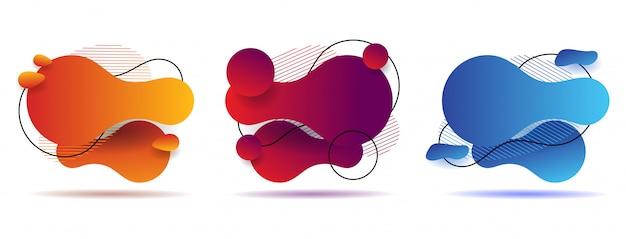 Stellen sie abstrakte bunte flüssige geometrische form ein. design mit flüssigem gradienten
