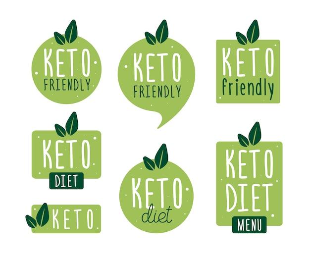 Stellen sie abzeichen ketodiät ein. vektor flache illustration. logozeichen der ketogenen diät. keto-diät-menü.