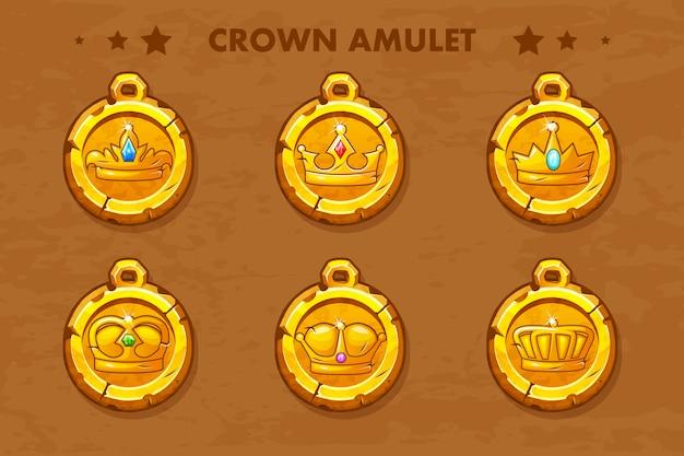 Stellen sie alte amulette des vektors mit krone ein
