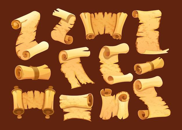 Stellen sie alte papierrolle ein. horizontales und vertikales altes gerolltes manuskript. historischer zerlumpter papyrus